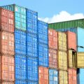 blue red and yellow intermodal containers